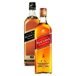 Whisky Johnnie Walker Etiqueta Negra + Etiqueta Roja 750cc