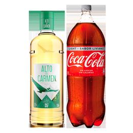 Pack Pisco Alto del Carmen 35° Botella 1.5 Lts + Coca Cola Light 3Lts