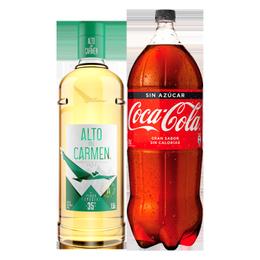Pack Pisco Alto del Carmen 35° Botella 1.5 Lts + Coca Cola Zero 3Lts