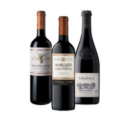 Pack Vinos Cabernet Sauvignon 1x Montes Alpha + 1x Marques de Casa Concha + 1x Tarapaca Gran Reserva Botella 750cc