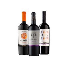 Pack Vinos Reserva 1x Casas Patronales + 1x Aliwen + 1x 7 Colores Cinsault Botella 750cc
