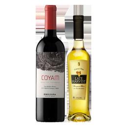 Pack Vino Concha y Toro Late Harvest Botella 375cc + Coyam Orgánico Botella 750cc