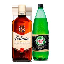 Whisky Ballantines 40° Botella 750cc + Canada Dry Ginger Ale Zero Botella 1.5Lts