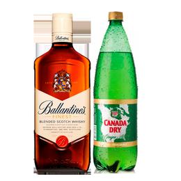 Whisky Ballantines 40° Botella 750cc + Canada Dry Ginger Ale Botella 1.5Lts