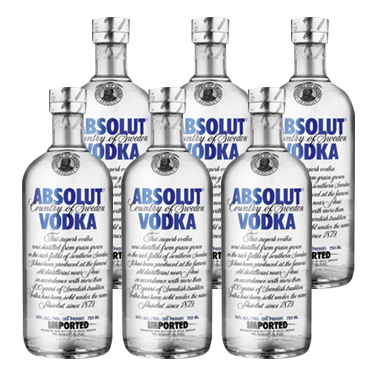 Vodka Absolut Blue Botella 750cc x6