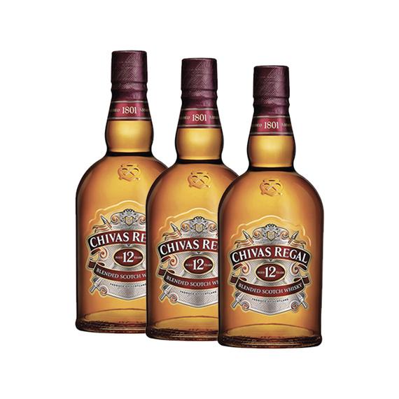 Whisky Chivas Regal 12 Años Botella 750cc x3