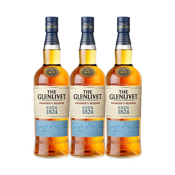 Whisky The Glenlivet Single Malt Founders Reserve Botella 700cc x3
