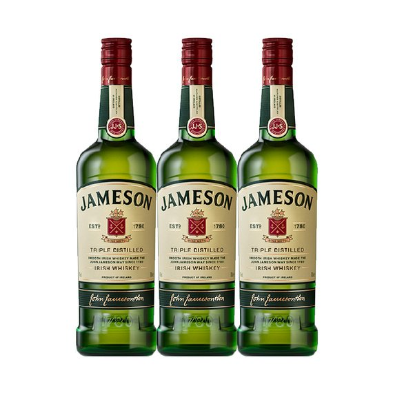 Whisky Jameson Triple Destilado Botella 750cc x3