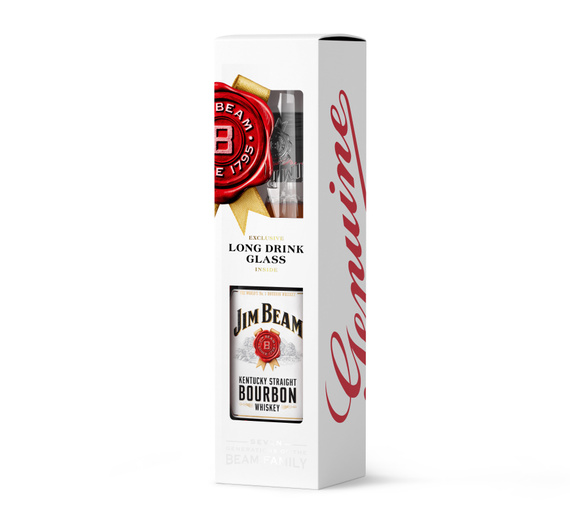 Jim Beam White Botella 750cc + Vaso