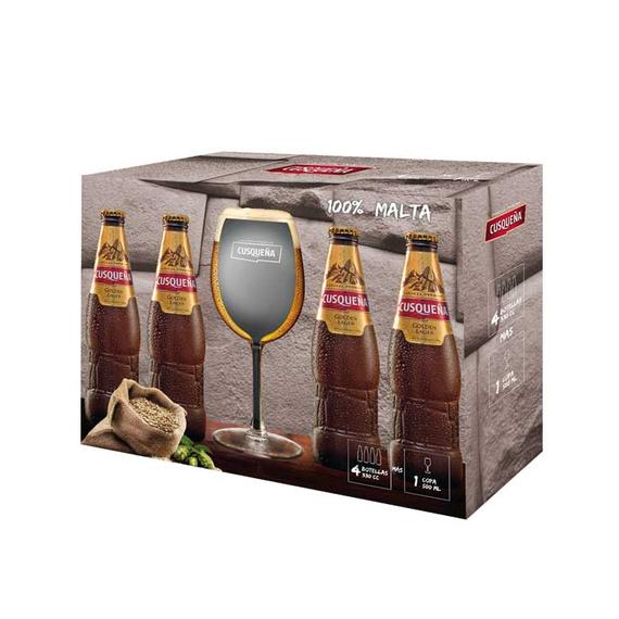 Pack 4 Cusqueña Lager Botella 330cc + Copa 500cc