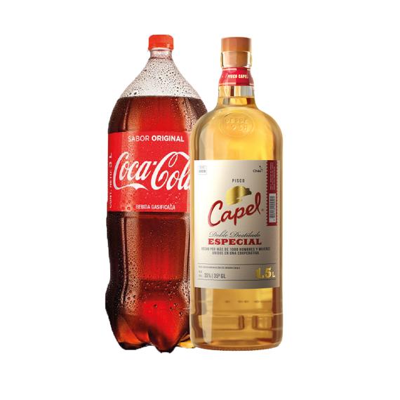 Pisco Capel 35° Botella 1,5Lts + Coca Cola Regular 3Lts