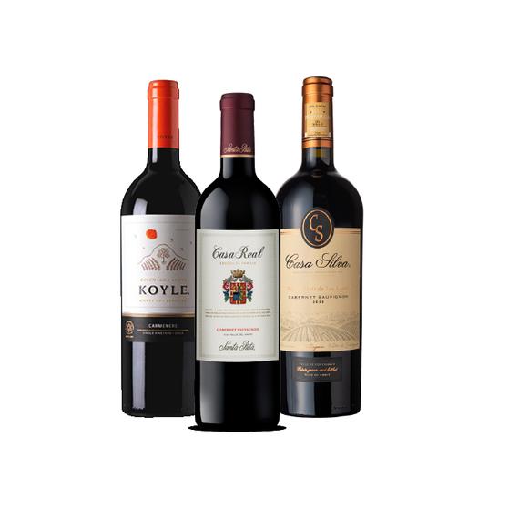 Pack Vinos 1x Casa Real + 1x Koyle Single Vineyard + 1x Casa Silva Gran Terroir Botella 750cc
