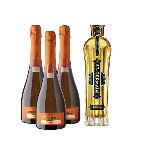 Pack 1x St. Germain Botella 750cc + 3x Espumante Undurraga Brut Botella 750cc