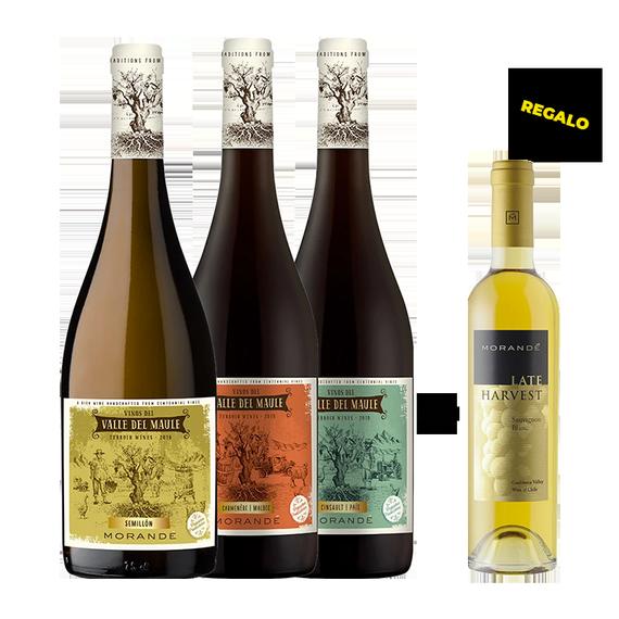 Pack Vinos Morande Terroir Wines 1 Cinsault & Pais + 1 Semillon + 1 Carmenere & Malbec Botella 750cc + Late Harvest Botella 375cc de Regalo