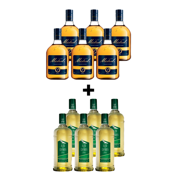 Pack Pisco Mistral 35º Botella 1Lt x6 + Pisco Alto Del Carmen 35º Botella 1Lt x6