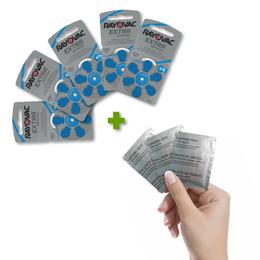 Pack de 30 Pilas Auditivas 675 Rayovac Extra + 3 Toallitas de Limpieza de Regalo