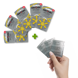 Pack de 30 Pilas Auditivas 10 Rayovac Extra + 3 Toallitas de Limpieza de Regalo