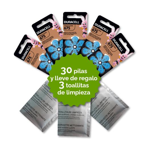 Pack 30 Pilas 675 Duracell + 3 Toallitas de Regalo