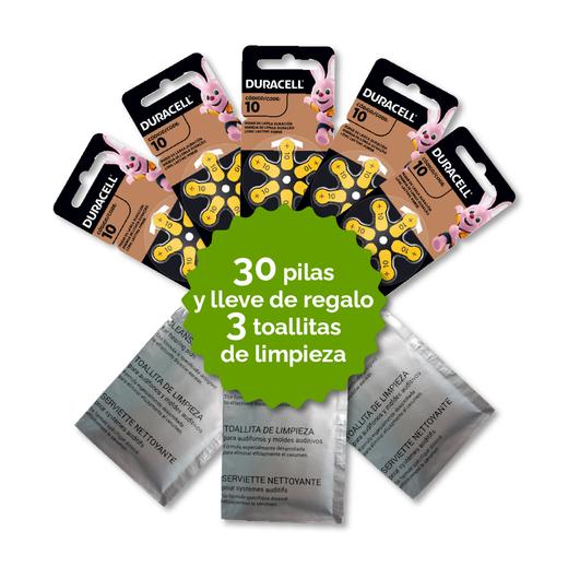 Pack 30 Pilas 10 Duracell + 3 Toallitas de Regalo