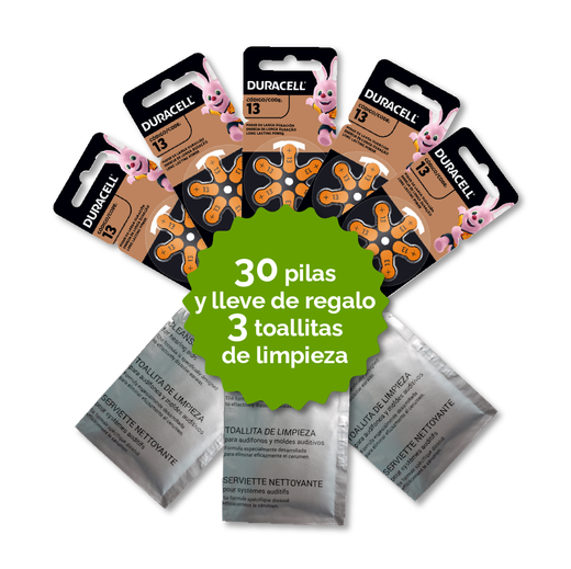 Pack 30 Pilas 13 Duracell + 3 Toallitas de Regalo