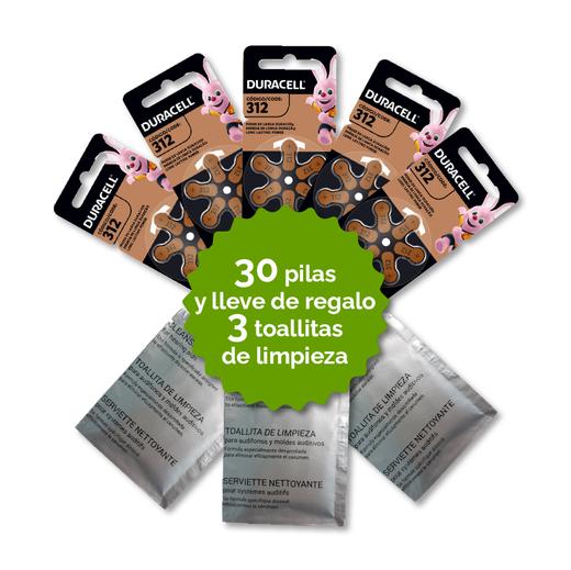 Pack  30 Pilas 312 Duracell + 3 Toallitas de Regalo