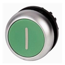 Pulsador plano verde, rotulado, IP67, IP69K