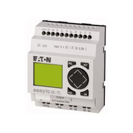 EASY500, Alimentación 24Vdc, 8DI (2 pueden ser análogas),  4DO Transistor, pantalla y teclado, reloj tiempo real