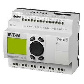 EASY800 alimentación 24Vdc, 12DI (4 pueden ser Análogas),  6DO tipo relé 10 Amps, 1AO, pantalla y teclado, reloj tiempo real