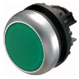 Botón luminoso rasante con enclavamiento, verde