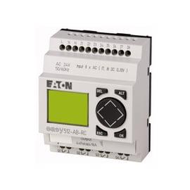EASY500, Alimentación 24Vdc, 8DI (2 pueden ser análogas),  4DO tipo rele 10 Amps, pantalla y teclado, reloj tiempo real