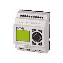 EASY500, Alimentación 12Vdc, 8DI (2 pueden ser análogas),  4DO tipo rele 10 Amps, pantalla y teclado, reloj tiempo real