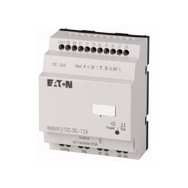 EASY500, Alimentación 24Vdc, 8DI (2 pueden ser análogas),  4DO Transistor, reloj tiempo real