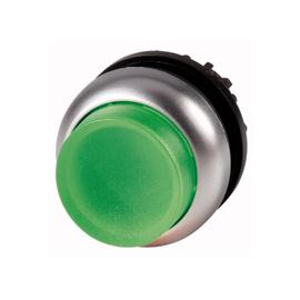 Botón luminoso saliente con enclavamiento, verde