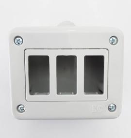 Caja enchufe 3 puestos ip44 s/tapa proteccion