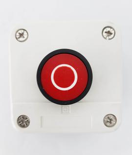 Pulsador en caja parar rojo ip65 1nc