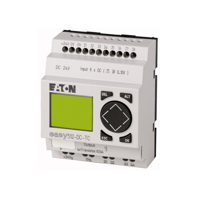 EASY500, Alimentación 24Vdc, 8DI (2 pueden ser análogas),  4DO Transistor, pantalla y teclado, reloj tiempo real - EASY500, Alimentación 24Vdc, 8DI (2 pueden ser análogas),  4DO Transistor, pantalla y teclado, reloj tiempo real