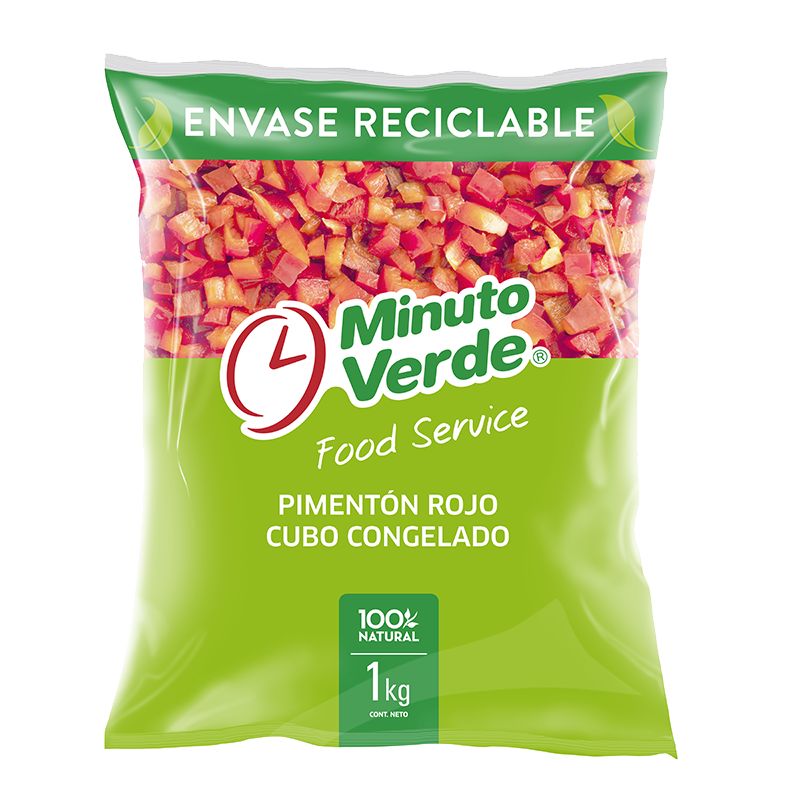 Pimentón rojo en cubos Minuto Verde 1 Kg