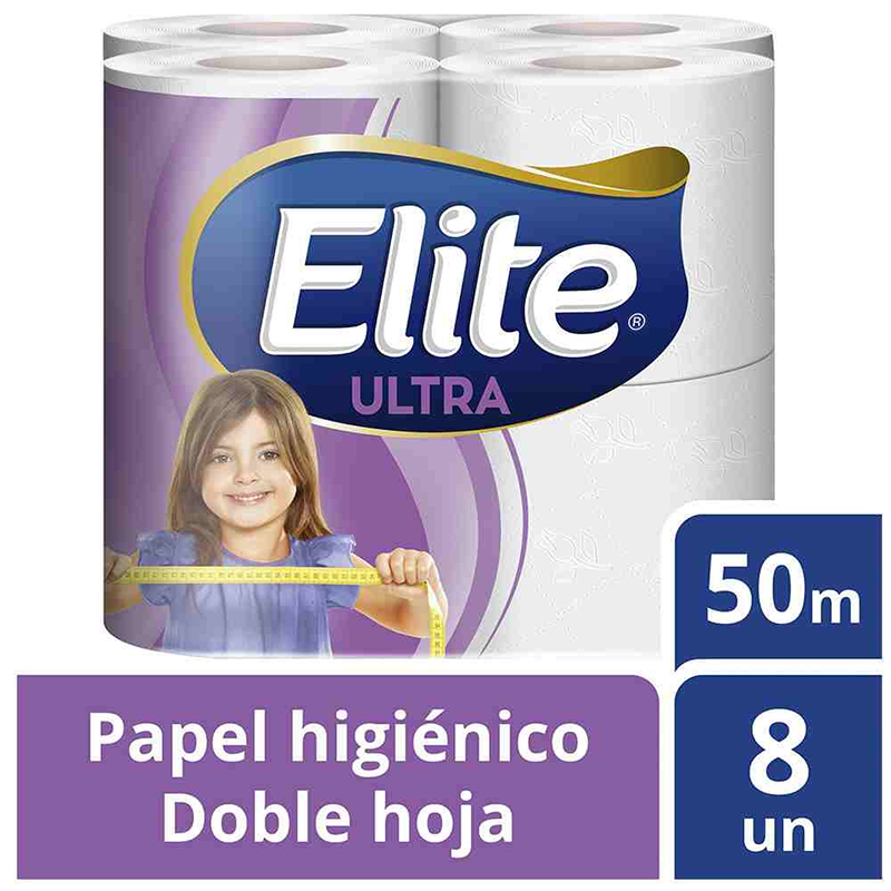 Papel higiénico doble hoja Elite 8 x 50 mt