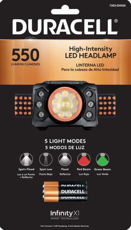 DURACELL, LINTERNA LED 550  PARA CABEZA+3 PILASAAA