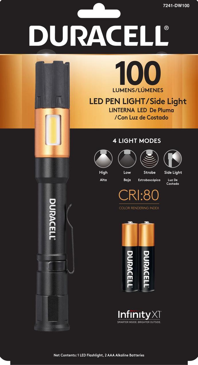 DURACELL, LINTERNA LED 100 +2 PILAS AAA  DE PLUMA - 7241-DW100-Front.jpg